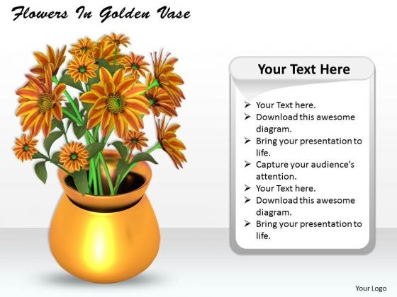 Stock Photo Flowers In Golden Vase PowerPoint Template