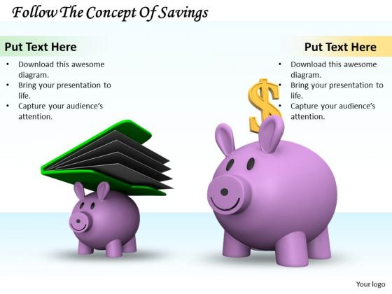 Stock Photo Follow The Concept Of Savings PowerPoint Template