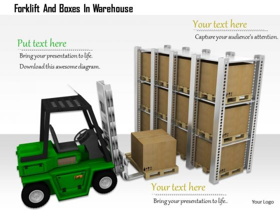 Stock Photo Forklift And Boxes In Warehouse PowerPoint Slide