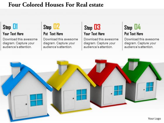 Stock Photo Four Colored Houses For Realestate Image Graphics For PowerPoint Slide