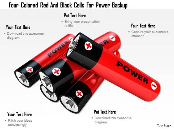 Stock Photo Four Colored Red And Black Cells For Power Backup PowerPoint Slide