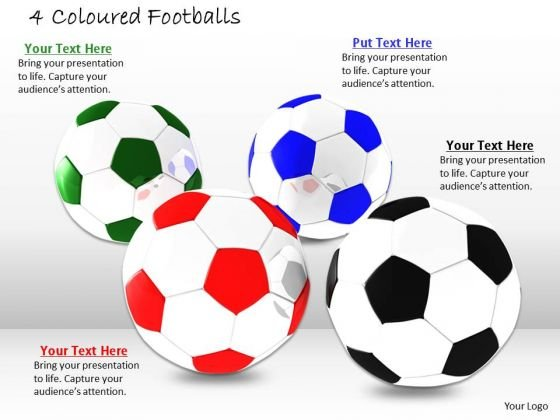 Stock Photo Four Colors Footballs For Game PowerPoint Slide