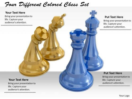 Stock Photo Four Different Colored Chess Set PowerPoint Template