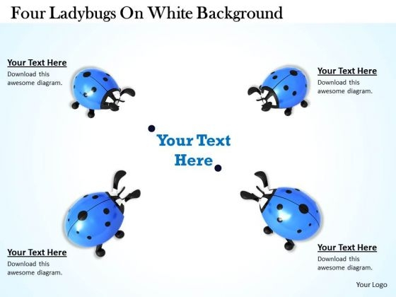 Stock Photo Four Ladybugs On White Background PowerPoint Template