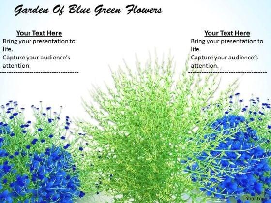 Stock Photo Garden Of Blue Green Flowers Ppt Template
