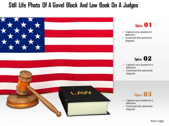 Stock Photo Gavel And Law Book With Us Flag PowerPoint Slide