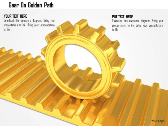 Stock Photo Gear On Golden Path PowerPoint Slide