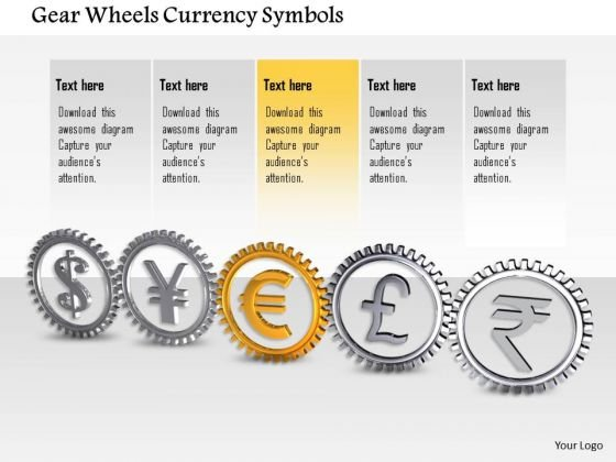 Stock Photo Gear Wheels Currency Symbols PowerPoint Slide