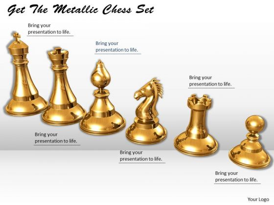Stock Photo Get The Metallic Chess Set PowerPoint Template