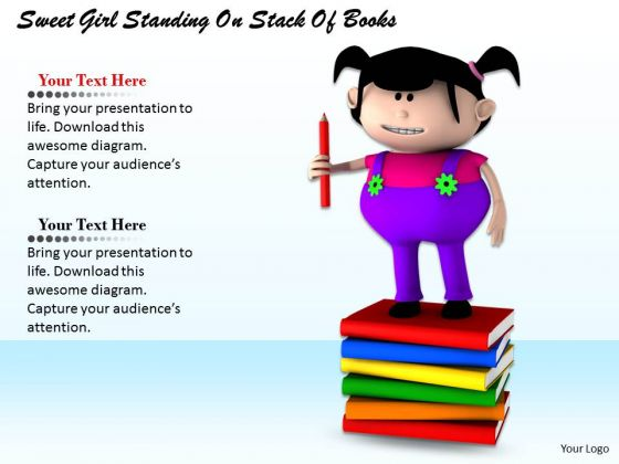 Stock Photo Girl Child Standing On Stack Of Books Pwerpoint Slide