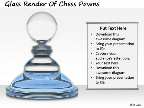 Stock Photo Glass Render Of Chess Pawns PowerPoint Template
