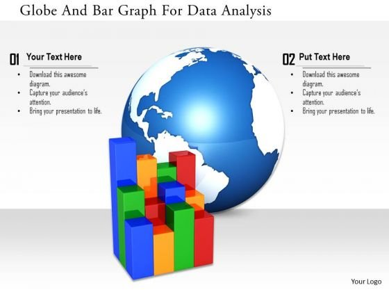 Stock Photo Globe And Bar Graph For Data Analysis Image Graphics For PowerPoint Slide