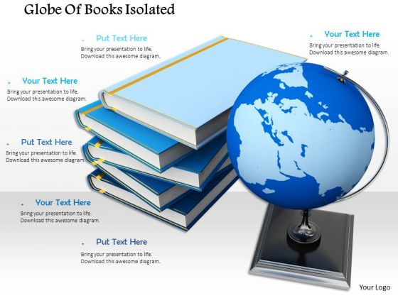 Stock Photo Globe Atlas World Stacked Books Global Education PowerPoint Slide