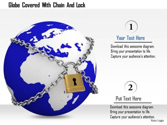 Stock Photo Globe Covered With Chain And Lock Image Graphics For PowerPoint Slide