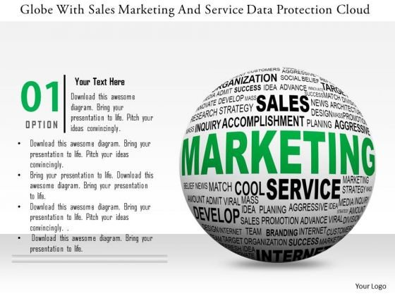 Stock Photo Globe With Sales Marketing And Service Data Protection Cloud PowerPoint Slide