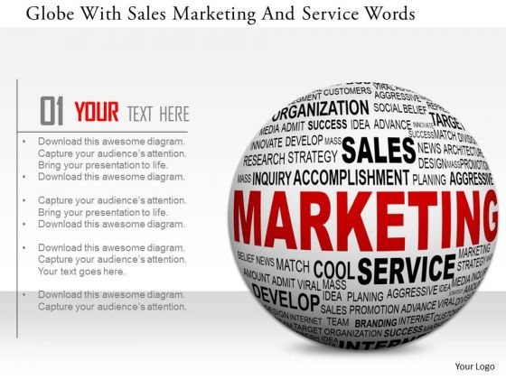Stock Photo Globe With Sales Marketing And Service Words PowerPoint Slide