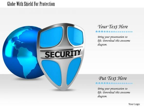 Stock Photo Globe With Shield For Protection Image Graphics For PowerPoint Slide