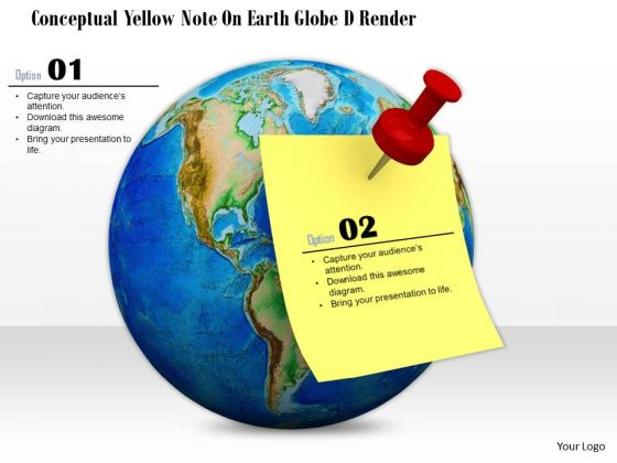 Stock Photo Globe With World Map Yellow Note Pined On It PowerPoint Slide