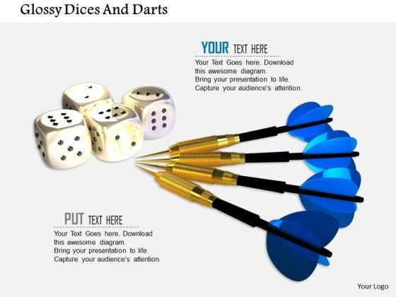 Stock Photo Glossy Dices And Darts PowerPoint Slide