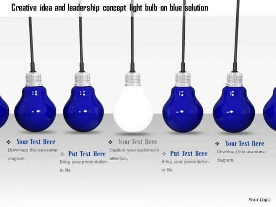 Stock Photo Glowing Bulb In Center Of Blue Bulbs PowerPoint Slide