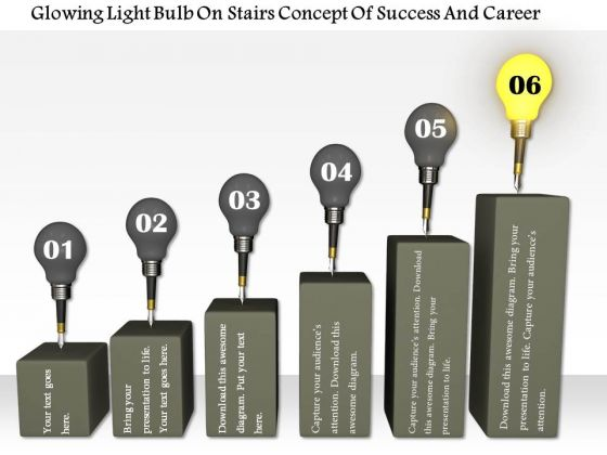 Stock Photo Glowing Bulb On Top Of Bar Graph PowerPoint Slide