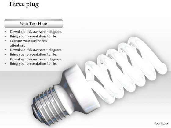 Stock Photo Glowing Cfl On White Background PowerPoint Slide