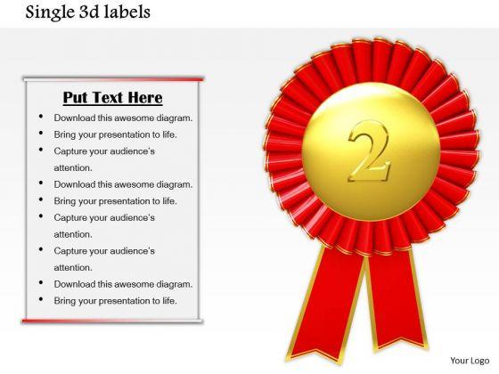 Stock Photo Gold Medal For Winner Of 2nd Position PowerPoint Slide