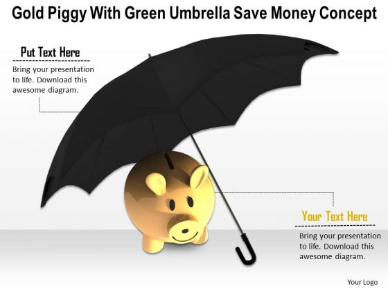 Stock Photo Gold Piggy Bank Under Umbrella PowerPoint Slide