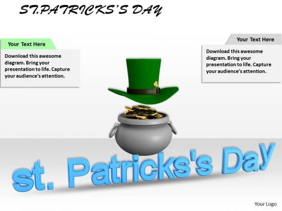 Stock Photo Gold Pot With Hat PowerPoint Slide