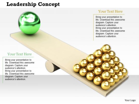 Stock Photo Gold Spheres Big Green Sphere On Seesaw PowerPoint Slide