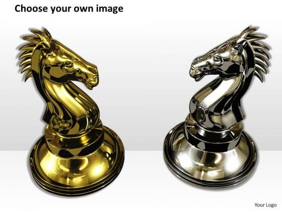 stock_photo_golden_and_black_horse_for_chess_powerpoint_template_2