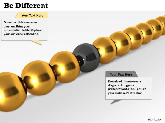 Stock Photo Golden Balls With One Black In Middle For Leadership PowerPoint Slide