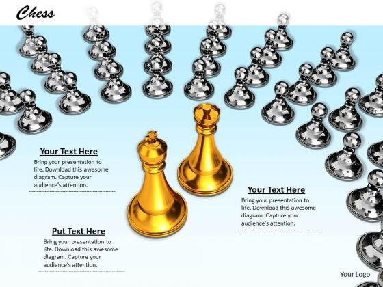 Stock Photo Golden Chess King Queen With Sliver Pawns PowerPoint Slide