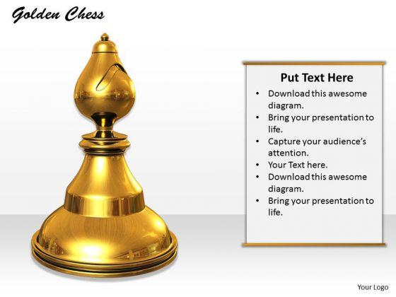 Stock Photo Golden Chess Piece On White Background PowerPoint Slide