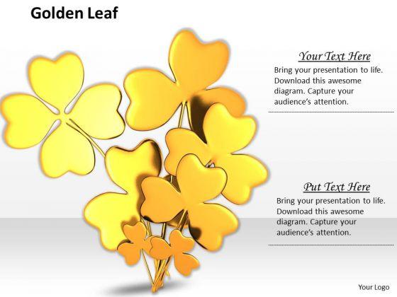 Stock Photo Golden Clover Leaves On White Background PowerPoint Slide