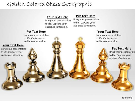 Stock Photo Golden Colored Chess Set Graphic PowerPoint Template