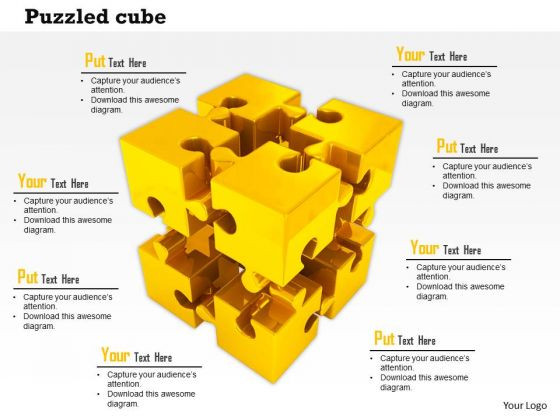 Stock Photo Golden Cube Of Puzzle Pieces PowerPoint Slide