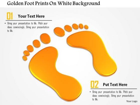 Stock Photo Golden Foot Prints On White Background PowerPoint Slide