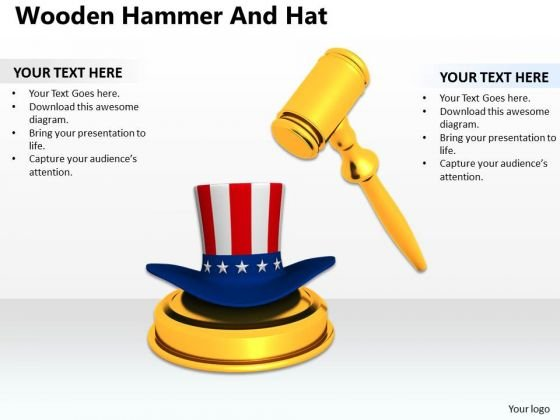 Stock Photo Golden Gavel With American Hat PowerPoint Slide