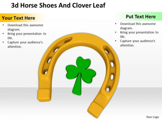 Stock Photo Golden Horse Shoe With Clover Leaf PowerPoint Slide