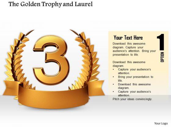Stock Photo Golden Laurel Trophy For 3rd Rank Pwerpoint Slide