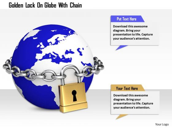 Stock Photo Golden Lock On Globe With Chian Image Graphics For PowerPoint Slide