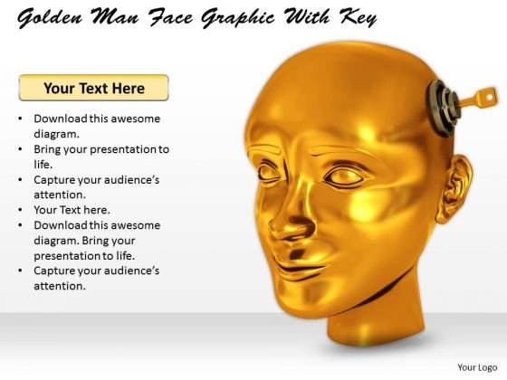 Stock Photo Golden Man Face Graphic With Key PowerPoint Template
