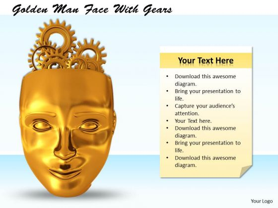 Stock Photo Golden Man Face With Gears PowerPoint Template