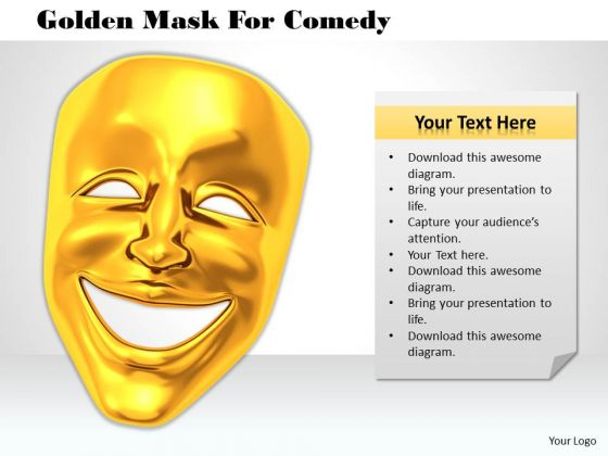 Stock Photo Golden Mask For Comedy PowerPoint Template
