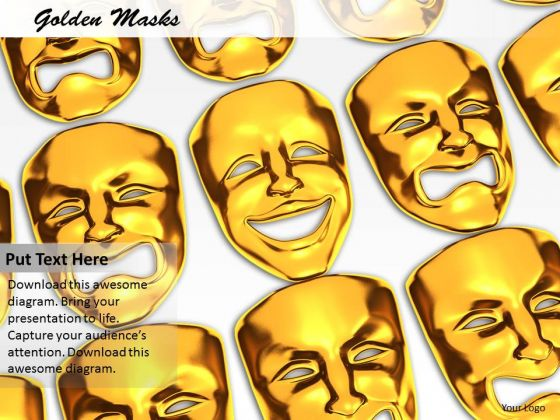 Stock Photo Golden Masks With Different Expressions PowerPoint Slide