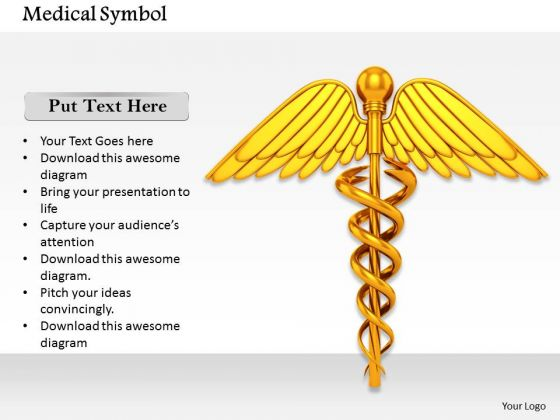 Stock Photo Golden Medical Symbol For Health Concept PowerPoint Slide