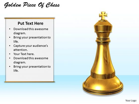 Stock Photo Golden Piece Chess Game Concept PowerPoint Slide