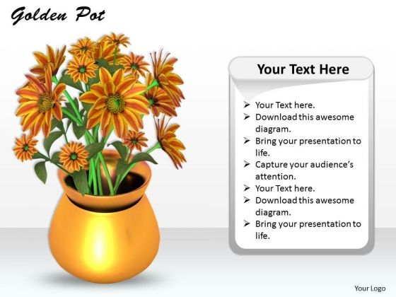 Stock Photo Golden Pot With Flowers On White Background PowerPoint Slide
