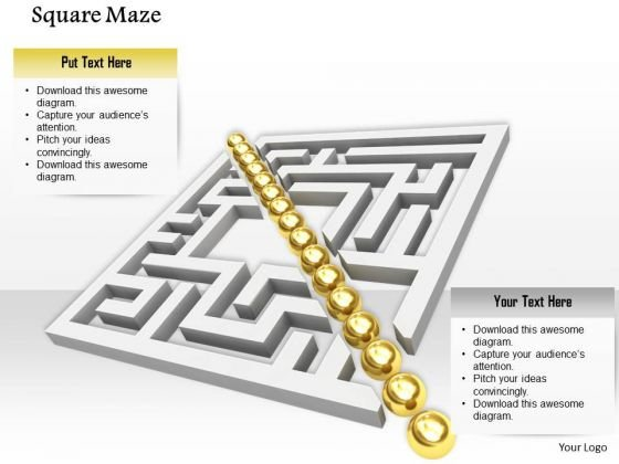 Stock Photo Golden Row In Center Of Square Maze PowerPoint Slide
